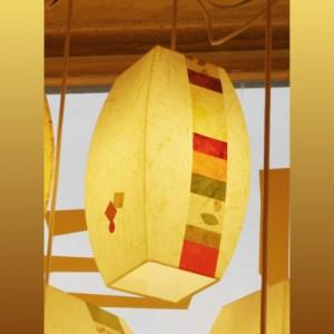 [한지등] 모던팬던트[미색운용세로조각]-대각선 사이즈