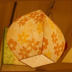 [한지등] 단지팬던트[노란난꽃]-대각선 사이즈