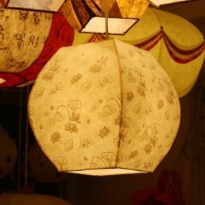 [한지등] 단지팬던트[미색연꽃]-대각선 사이즈