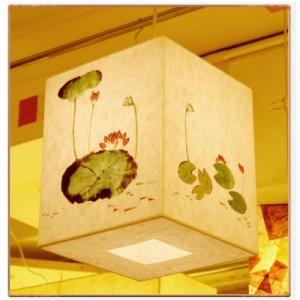 [한지등] 사각3호팬던트[연꽃그림]