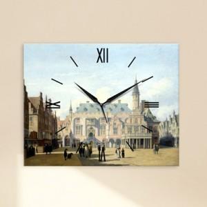 하르렘의시장광장과시청-베르크헤이데 (명화 인테리어시계)