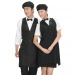 AN06BB 블랙 카라공단스타일 조끼 앞치마유니폼 서빙복 식당 레스토랑 블랙 검정