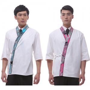 CJ15  남자 백색 소라/핑크 일식복앞치마,심플,업소용,조리복,서빙복,유니폼,단체복,청결,주방용,위생,단순,깔끔,무지,일식복