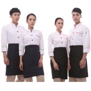 CS50 넥 파이핑 싱글 긴팔조리복 (면혼방20수)