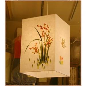 [한지등] 사각2호팬던트[난꽃그림,나비문양]