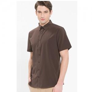 남성 반팔 단색 셔츠 /브라운(Y-104S)