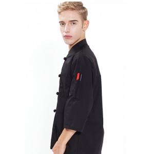7부 매듭단추 조리복 /블랙(O-123)양식,쉐프복,패션조리복,예쁜조리복, 주방,조리사,요리사,한식,일식,품질,고급호텔