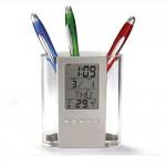 투명 반달펜꽃이 디지털 시계