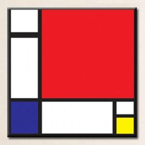 몬드리안 - 빨강 파랑 노랑의 구성 (오라프레임액자)