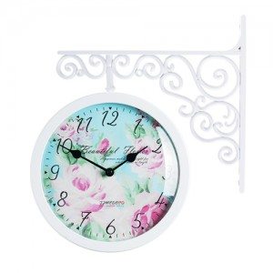 Classic Double Clock Flower4(WH)
