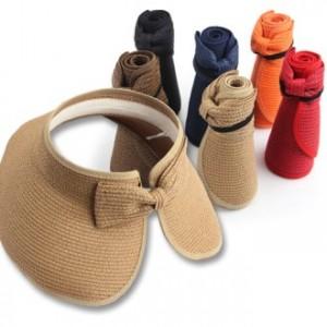 [모자(선캡)]리본 돌돌이 모자 왕골모자