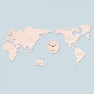 World Map Clock (Natural) Big [1115 x 550]