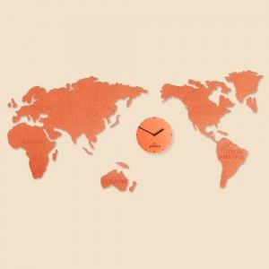 World Map Clock (Orange) Big [1115 x 550]