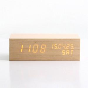인테리어 신형 LED 나무 우드 탁상시계-직사각(대)