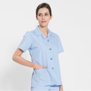 반팔 TC45수 스판덱스 위생복 셔츠(여성용) 스카이블루(FS-114)여름 4계절 착용 가능 수납포켓 디자인 판넬형 일반공장 식품 공장 야외 작업장
