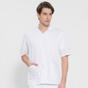반팔 TC45수 스판덱스 위생복 셔츠(남성용) /화이트(FS-108)