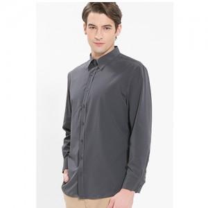 남성 긴팔 단색 셔츠 /그레이(Y-110L)