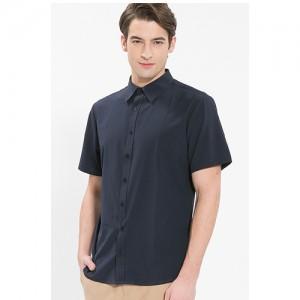 남성 반팔 단색 셔츠 /네이비(Y-109S)