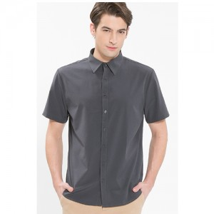 남성 반팔 단색 셔츠 /그레이(Y-110S)