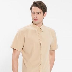 남성 반팔 단색 셔츠 /베이지(Y-107S)