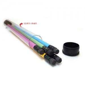 파스텔 연필 투명원통 5P세트