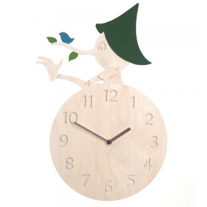 Pinocchio Clock 무소음 자작나무 핸드메이드 벽시계