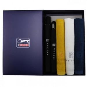 [우산선물세트]PGA 2단자동엠보+2단엠보완자+170g 면사타올3p 세트