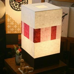 [한지등] 사각 창호지분홍조각스탠드