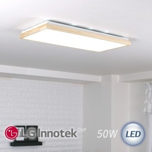 LED 로뎅 직사각 거실등 50W (원목)