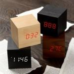 LED 우드탁상시계 1293 (큐브)/탁상시계/디지털시계/무소음시계