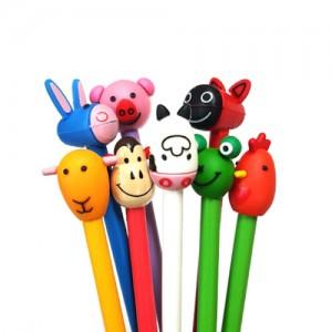 8종동물캐릭터연필