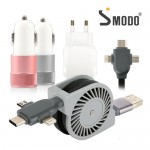 [SMODO-226] 고속 충전용품 set (십자 릴케이블+듀얼 시거잭+듀얼 어답터)가격:14,100원