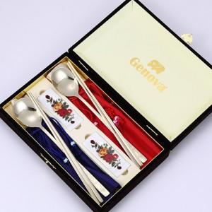251-S.키친아트 매화 티타늄 수저 선물세트(도자기수저받침)