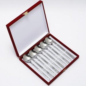 701-A. 제노바 인삼 샌딩 수저 5벌 선물세트(밴드우단케이스)