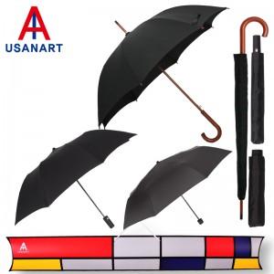 우산아트 60우드곡자손+2단블랙+3단블랙 우산3P세트