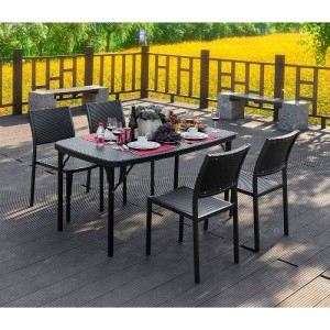 브로몰딩 접이식 테이블의자세트 (접이식테이블 1개, 등받이의자 4개) RYC-021