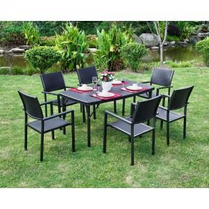 브로몰딩 접이식 테이블의자세트 (접이식테이블 1개, 등받이의자 6개) RYC-022