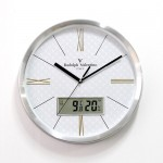 발렌티노 무소음 알루미늄 온습도벽시계 355AMC
