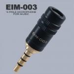 EIM-003(4극/음악모니터링 마이크)성우목소리녹음,피아노,바이올린,거문고,악기녹음,무지향성 마이크,높은 신호 대 잡음비, 전자파 차단