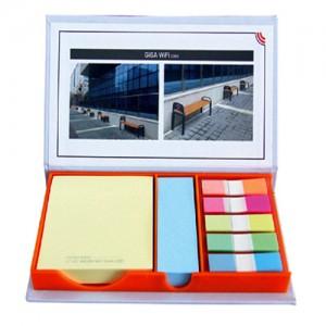 오렌지 메모함 (대013-100매)(팝업플래그)메모지잇 메모잇 포스트잇 접착 점착 케이스 박스