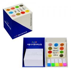 큐브 박스 점착메모함+손톱필름지(20매)접찹 포스트잇 메모잇 인덱스필름 사무용 펜꽂이