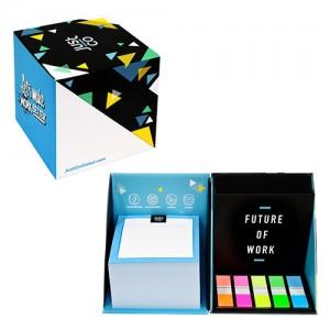 칼라 포스트잇 + 큐브박스 메모함접착메모지 메모잇 점착 포스트잇