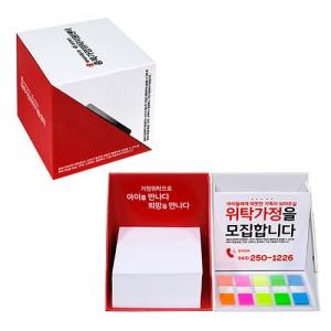 큐브박스 점착메모함+외장형(클립형)자석포스트잇 메모함 사무용품 메모지 접착 메모잇 펜꽂이 형광필름지 인덱스 기업이미지 제품 브랜드 광고