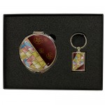 자개 손거울+금속 사각 열쇠고리-조각보와인, 나비와목단(백)