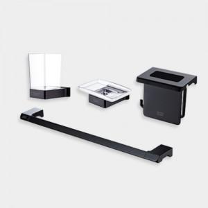 [FH0600 블랙무광] CUBE-P 액세서리 블랙 4품 수건걸이,휴지걸이,칫솔꽂이,비누대