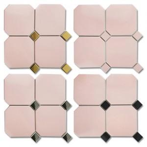 옥타곤 팔각 모자이크 핑크 150mm