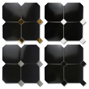 옥타곤 팔각 모자이크 타일 블랙 150mm