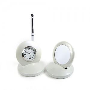 은장문진형거울탁상시계