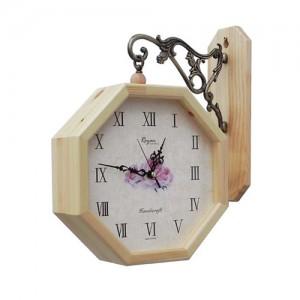 원목팔각양면시계