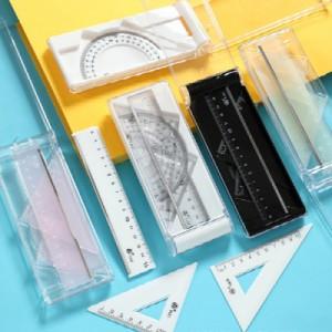 플라스틱 삼각자 각도기 눈금자 4종 박스 세트 학생용 자세트